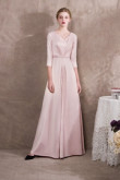 2019 Fashion Pearl Pink Satin Bridal Jumpsuits three quarter sleeve so-031