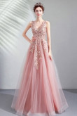 Pink A-line Prom Dresses V-neck Floor-Length Evening Dresses TSJY-150