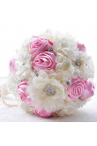 Pink and Ivory Gorgeous Artificial wedding bouquets for bride with Bead string