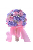 Pink and Purple wedding bouquets bride holding flowers