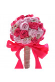 Pink and Rose Red Artificial Flowers Rose for Bridesmaid Bouquet with Glass Drill