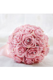 Pink Artificial Flowers Rose for Bride Bouquet with Crystal
