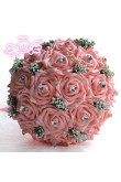 Pink Artificial Simulation Rose flowers for bride and bridesmaids with Crystal