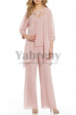 Pink Chiffon 3 PCS Elegant women Outfits Mother of the bride pantsuits mps-003