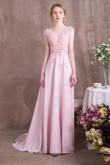 2019 New arrival Pink Chiffon Prom dresses with Hand Beading so-007