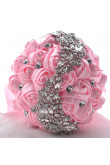 Pink Hand Beading Artificial Flowers Rose for Bride holding flowers