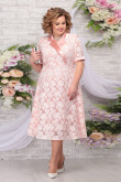 Pink Lace Mother of the Groom Dresses Mid-Calf Plus Size A-line Women's Dress mps-465-4