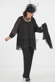 Plus Size Black Mother of the Bride Pant Suits with Hand Beading mps-039