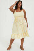 Plus Size Daffodil Mid-Calf Women's Dresses, Modern Spaghetti Mother Of The Bride Dresses mps-406