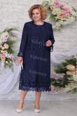 Plus Size Dark Navy Mother of the bride Dress Tea-Length Women's Dresses With Jacket mps-455-3