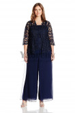 Plus size Dark navy Three pieces mother of the bride pant suits dresses mps-055