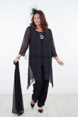 Plus size four pieces Chiffon Elastic waist Mother of the bride pants suits with shawl mps-026
