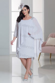 Plus size Gray chiffon Mother of the bride dress silver cape dress mps-332