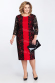 Plus Size Mother Of The Bride Dress Fashion Black & Red Mid-Calf Women's Dresses mps-450-2