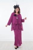 Plus size Purple 3 Pieces Chiffon Mother of the bride dresses mps-029
