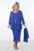 Plus size Royal blue Chiffon mother of the bride dresses with shawl outfits mps-036