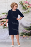 Plus Size Women's Dress Dark Navy Chiffon Mid-Calf Mother of the Groom Dresses mps-463-5