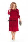 Plus size Women's Dresses Burgundy Lace Mother of the bride Dress mps-495-3