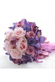 Glamorous Purple and pink Artificial Flowers Rose for Bridesmaid Bouquet
