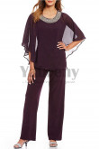 Purple Chiffon Beaded Neck Poncho pant suit for Mother mps-005