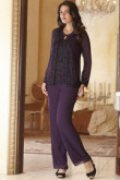 Purple customize mother of the bride pant suits with balck appliques mps-244
