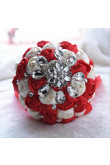 Red and Ivory Crystal Informal Artificial Flowers Rose for bride holding flowers
