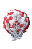 Red and ivory Hand Beading preals wedding bouquets for bridesmaids
