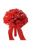 Red Artificial Flowers Rose Wedding Bouquet with Pearls for bride and bridesmaids