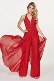 Red Chiffon Wedding Jumpsuits dresses With Train so-087