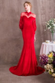 Red Court Train Prom dresses With puff sleeve so-010