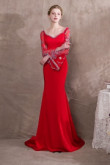 Red Exquisite Beaded Trumpet sleeve Prom dresses so-025