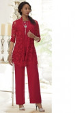 Red Lace Mother of the bride pant suit dress 3-PC Elastic waist Trouser set mps-104