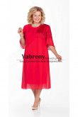 Red Mid-Calf Plus size Dress, larger size Mother of the Bride Dresses mps-511-4