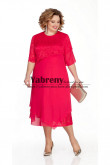 Red Plus Size Women Dresses, Mid-Calf  Mother of the Bride Dresses mps-510