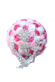 Wedding bouquets for bride Rose red and withe Hand Beading Glass Drill bride holding flowers