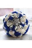 Royal Blue and Ivory Crystal Informal Artificial Flowers Rose for bride holding flowers