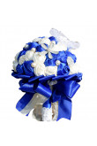 Royal Blue and ivory wedding bouquets for bride with seashell