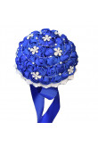 Royal Blue Artificial Flowers Rose for Bridesmaid Bouquet with Glass drill
