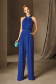 Royal blue chiffon bridesmaid jumpsuit dress cocktail dresses vestido de fiesta so-180
