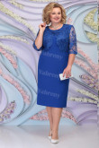 Royal Blue Lace Mother of the Groom Dresses Plus Size Half Sleeves Women's Dress mps-466-4
