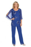Royal Blue mother of the bride pants suit Hand Beading mps-239