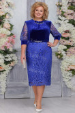 Royal Blue Velvet Mother of The Bride Dresses,Plus size Knee-Length Women's Dresses mps-473-3