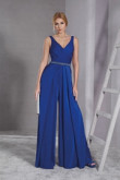 Royal V-neck Prom Jumpsuit dresses with Beaded Belt Women Culottes dress so-189