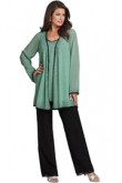 Scattered beads Chiffon Three Piece mother of the bride pants suits with long sleeves Jacket mps-200