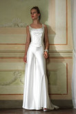 Scoop Elegant bridal hand beading white soft satin jumpsuit mps-014