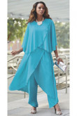Sea blue Loose Mother of the bride pant suits Beach Wedding Trousers outfits mps-083