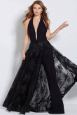 Sexy Deep V-neck Prom jumpsuit with skirt Black evening dress so-185