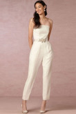 Simple Strapless Bridal Jumpsuits Wedding pants dresses Ivory so-082