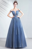 Sky Blue A-line Prom Dresses Strapless Sequined Fabrics Evening Dresses TSJY-129