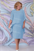 Sky Blue Chiffon Tea-Length Mother Of The Bride Dress Plus Size Women's Outfit mps-447-6